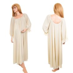 Vtg Lucie Ann Claire Sandra Nightgown Sz M Yellow Long Lace Sheer Grand Sweep #VanityFair #SomeLikeItUsed