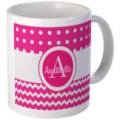 Hot Pink Chevron Polka Dot Monogram Personalized M on CafePress.com