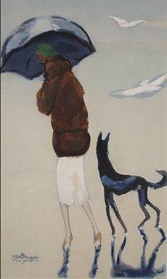 Mujer con un perro paseando por la playa, 1937 · Kees van Dongen