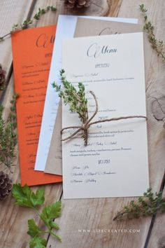 Inspiration for your wedding party is right here, with this menu idea! I think it adds to the decor.