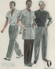 Unusual men's summer jacket styles. For more of summerwear vintage illustrations, go to link on bio and proceed to gentl.mn/men-summer-fashion-how #dappered #dandy #vintage #illustrations