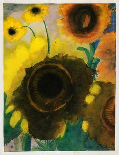 1966 Print Emil Nolde Sunflowers Watercolor Expressionism Modern Botanical Art