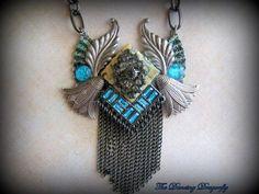 Art Deco Teal Collage Necklace with Swarovski by dragonflysublime, $50.00