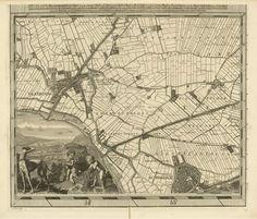 """De Cruquius kaart is een in 25 bladen gegraveerde kaart. Het geheel beslaat een oppervlak van 230 x 280 cm. Niet door het het formaat, maar door de kwaliteit van de kartografie waarmee op de """"gevoelige""""schaal 1:10.000 gewerkt is overtreft de Delfland-kaart alles wat er in de 17e en 18e eeuw in de catagorie waterschapskaarten gepresteerd is. (Detail met Schiedam, Kethel en Vlaardingen). Ongekleurde versie."""