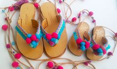 ♥ Our Pom Pom Candy matching bohemian sandals for hip moms and their mini fashionistas in a 20% discount combo! ♥ Hand decorated with blue braids,