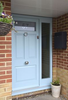 Beautiful, modern & traditional timber front doors - timber entrance doors, all made to measure using engineered timber & top performance double glazing. Timber Front Door, Wooden Screen Door, Front Door Entrance, Glass Front Door, Front Door Paint Colors, Painted Front Doors, Farrow And Ball Front Door Colours, Double Doors Exterior, Double Front Doors