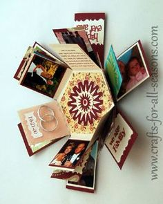 This hexagon explosion box would make a creative and unique gift for your loved one. Explosion boxes look like a little gift, but when the lid is removed the sides fall down to reveal multiple tags where you can put photos, sayings, and other embellishments.
