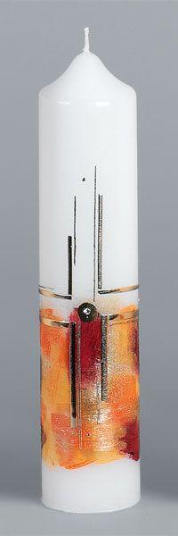 Liturgische Kerze, 2614, 265x60, Wachskreuz, orange