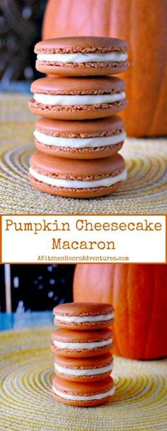 With just a hint of pumpkin spice flavor and pumpkin powder in the shells, these Pumpkin Cheesecake Macaron are light and delicious. Macaron Flavors, Macaron Recipe, Pumpkin Dessert, Pumpkin Cheesecake, Cookie Recipes, Dessert Recipes, Pie Recipes, Fun Desserts, Savory Pumpkin Recipes