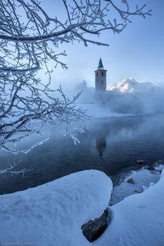 Frosty Perspective by Roberto Sysa Moiola ~ Sils Maria's church, Engadine - near St. Beautiful World, Beautiful Places, Sils Maria, Nature Landscape, Winter Scenery, Winterthur, Winter Magic, Zermatt, Snow Scenes