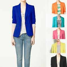 ZA** 2013 Women's One Button Blazer Suits Slim Fitting Design Candy Color Striped Lining Free Shipping Za036 $17.79