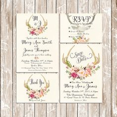 Deer Antler Wedding Invitation Pink floral rustic Set/Suite Wedding invitation Save the date RSVP Thank You Cards Printable digital files