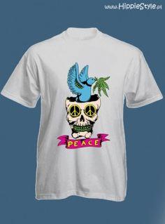 koszulka T-shirt biała PEACE CZASZKA boy