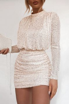 Order the Fashion Influx Cream Sequin High Neck Open Back Mini Dress from In The Style. Cute Casual Outfits, Chic Outfits, Casual Dresses, Short Dresses, Fashion Dresses, Formal Dresses, High Neck Formal Dress, Classy Party Outfit, Mini Prom Dresses