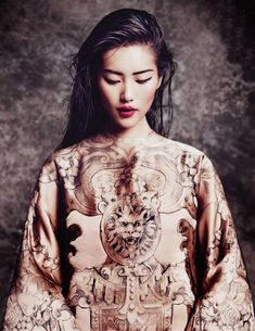 'The Empress' New Clothes' Liu Wen by Marcin Tyszka for Vogue Thailand October 2013