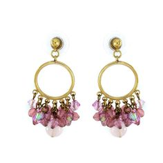 qvc Exquisite JOAN RIVERS Fun & Flirty Pink Beads Hoop Earrings T306 #JoanRivers #Hoop