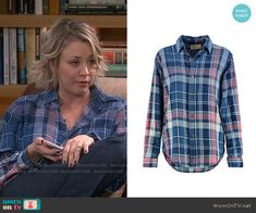 Penny's blue and pink plaid shirt on The Big Bang Theory.  Outfit Details: http://wornontv.net/54885/ #TheBigBangTheory
