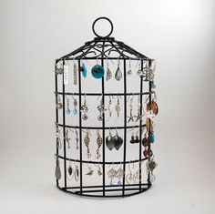 Birdcage Jewelry Stand Earring Organizer - Back Wire Jewelry Holder - Wall Hanging or Tabletop. 26.00, via Etsy.