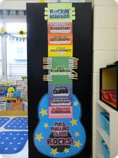 Behavior chart for music classroom management with clothespins with student names- love the guitar!!