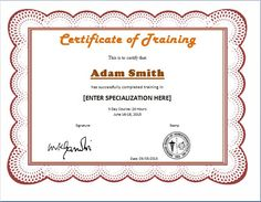 Training Certificate Templates  Free Download  Templates