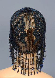 Back Detail of beaded and sequinned flapper cap with fringe, 1920's