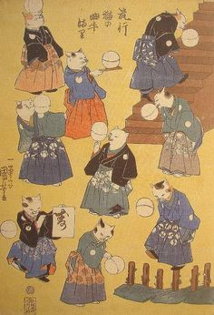 Fashionable Cat Juggler with a Ball - Kuniyoshi  流行猫の曲手まり