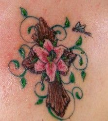Image result for crucifix with flowers tattoo