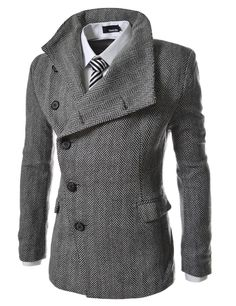 AJK THELEES Mens Unbalance Solid High Neck Wool Blend Slim Fit Button Front coat HERRINGBONE Chest 44(Tag size 2XL)