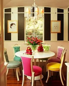 This breakfast room is like eating a box of fancy French macarons in a Kate Spade store.