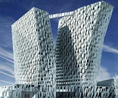 Bella Sky Hotel with 2 leaning towerw rises above Copenhagen skyline