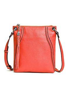 Leather Cross Body With Sch Trim Piping Purple Bags Crossbody Handbags