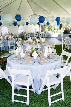 Beautiful blue reception decor, with Navy, Ice Blue & White Premium Paper Lanterns ~ Photo by  Caroline Tien-Spalding of Sphynge Photography.