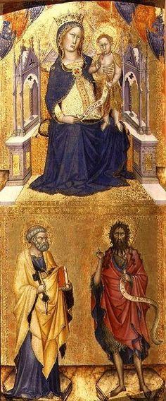 Francesco di Vannuccio - La Vergine e il Bambino in Maestà con San Pietro e San Giovanni Battista - ca. 1370 - Wallace collection, London