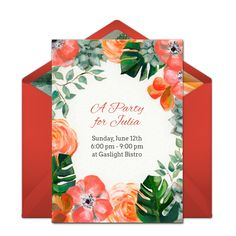 Customizable, free Summer Garden online invitations. Easy to personalize and send for a party. #punchbowl