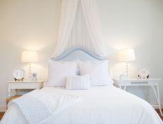 Elizabeth Newman Interior Design - bedrooms - light, blue, walls, mismatched nightstands, white, turned legs, nightstand, white, wicker, nig...
