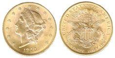 USA  – 20 dollari - Tipo Liberty ( 1850-1907 ) Double Eagle ( doppia aquila ) è la denominazione più usata in America  per tutte le monete da 20  $  fino al 1933; la coniazione fu autorizzata il 3 marzo 1849 ed il solo esemplare conusciuto è alla Smithsonian Institute. Dal 1850 al 1866  la monetazione è senza il motto ( IN GOD WE TRUST) in mezzo alle stellette al rovescio; dal 1866 al 1876 compare il motto e continua la scritta  del valore  ( TWENTY D. )  Dal 1876 al 1907 il valore sarà…