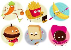 Food Olympics for Monoblock by Leo Espinosa, via Behance | Illustrations for a card game that teaches children the nutritional value of different kinds of food, created exclusively for Monoblock (Argentina)