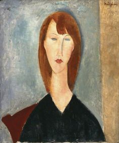 Amedeo Modigliani (1884–1920), Portrait of an unknown model, c.1918. Oil on canvas, 64 x 68 cm. Manchester City Galleries, UK