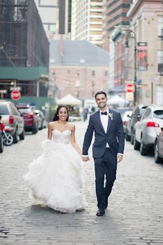 Bride in @watterswtoo Maelin and Priya. Bōm Photography – New York New Jersey Wedding Photographer | Justin and Gaby's Liberty House Wedding - Bōm Photography - New York New Jersey Wedding Photographer