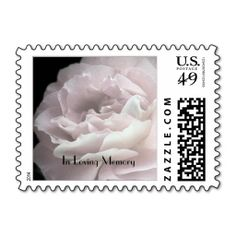 Pale Pink Rose Postage Stamp - This lovely postage stamp for Celebration of Life or Memorial Service invitations is decorated with our original photo of ultra pale pink rose petals on a black background. It is simple yet elegant. It matches some of our invitations and thank you notes. See matching invitation, zazzle  product161332816705746386. You can easily modify or personalize text. Original photo by A&M Socolik. All Rights Reserved © 2014 A&M Socolik #CalebrationOfLife #MemorialService