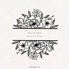 Flower Text, Flower Frame, Framed Leaves, Tatoo Flowers, Text Tattoo, Floral Border, Stationery Design, Mug Designs, Watercolor Flowers