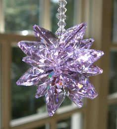 This sparkly violet crystal suncatcher, Swarovski crystal cluster, was constructed entirely with Swarovski crystal elements, twelve Crystal Cluster, Crystal Ball, Crystals In The Home, Car Rear View Mirror, Mineral Stone, Swarovski Crystal Beads, Shades Of Purple, Suncatchers, Wind Chimes