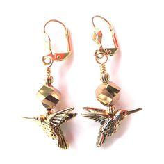 Palmtree Gems 'Goldtone Hummingbird' Dangle Earrings