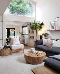Cozy and light vibes in the beautiful living room of Grey Sectional Sofa, Living Room Sectional, Wood Sofa, Charcoal Sofa Living Room, Charcoal Sectional, Living Room Trends, Living Room Inspiration, Living Room Designs, Interior Inspiration