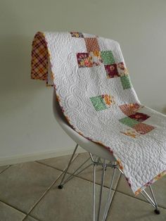 Mod Baby Quilt- would be simple, and love the negative space quilting