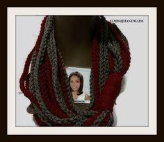 Chain Scarf ,  Infinity Scarf, Fashion Scarf  , Crochet Scarf ,  Infinity Cowl , Burgundy Scarf , Grey Scarf , Fashion Cowl