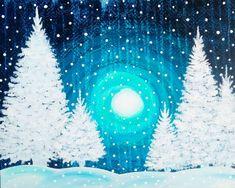 Christmas Canvas, Christmas Paintings, Christmas Art, White Christmas, Winter Painting, Diy Painting, Painting & Drawing, Arrow Painting, Wine And Canvas