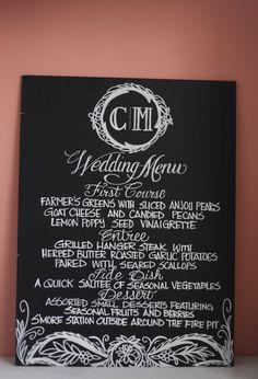 Custom Chalkboard Wedding Menu Unique by TheFancyTypeCompany
