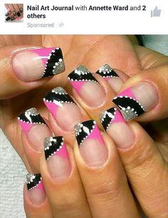 Latest Nail Art Designs for Young Girls 2014 Hot Nails, Pink Nails, Hair And Nails, Silver Nails, Fabulous Nails, Gorgeous Nails, Nagel Hacks, Latest Nail Art, Nagel Gel