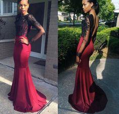 Red Lace Embellished Mermaid Satin Prom Dresses,Fishtail prom dress,Sexy dress
